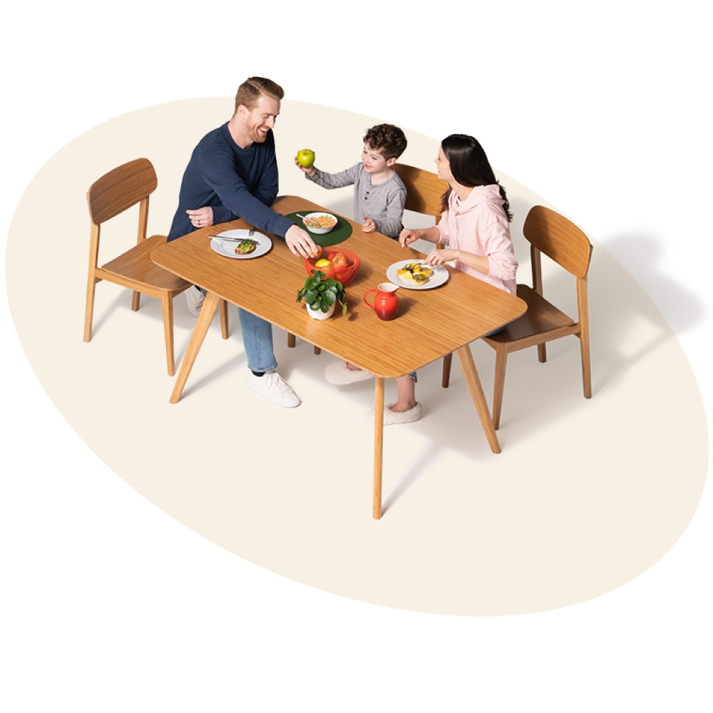 family eating at a table